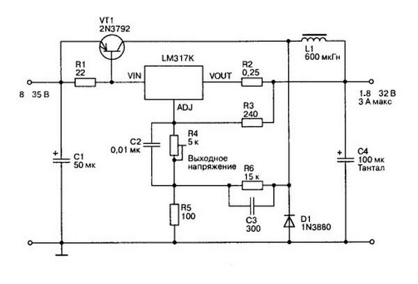 Выходное напряжение регулируется резистором R4 в диапазоне 1,8...32 В. Следует отметить, что схема очень проста и не...