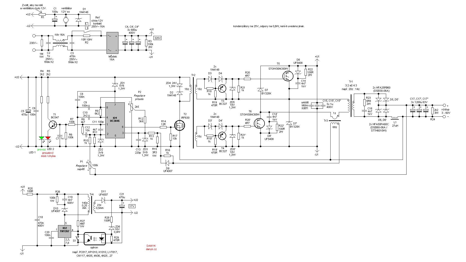Импульсный источник питания (SMPS) 3-60V 40A