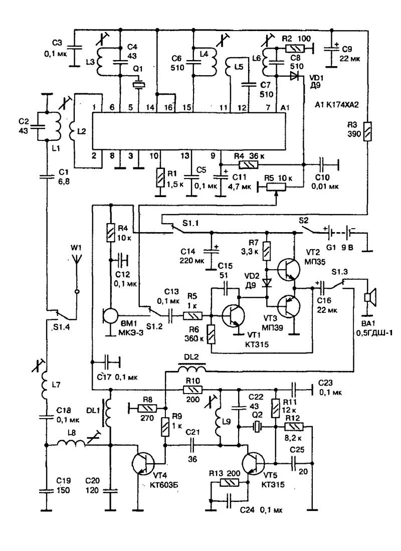 Рис. 71.  Схема простой СВ-АМ-радиостанции.  Конструктивно радиостанция состоит из трех основных узлов...